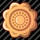 bread, cartoon, cheesecake, cookie, flower, logo, object