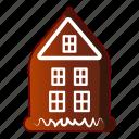 bread, cake, cartoon, gingerbread, house, logo, object