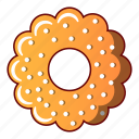 bagel, bread, cartoon, cheesecake, logo, object, round