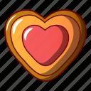 biscuit, cartoon, cheesecake, heart, jam, logo, object