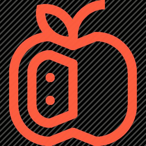 apple, food, fresh, fruit, organic, seed icon