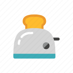 appliance, bread, colour, cooking, kitchen, toast, toaster icon
