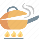 cooking, fire, food, frying, kitchen, meal, pan icon