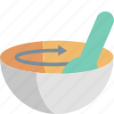bowl, cooking, food, kitchen, mixing, rotate, spoon icon