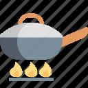 cooking, fire, food, frying, kitchen, pan, restaurant