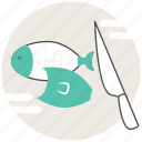 chopping, concept, cooking, fish, knife icon