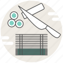 concept, cooking, knife, maki, making, sushi icon
