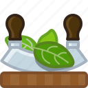 cooking, herbs, chopping board, cutting, basil, knife icon