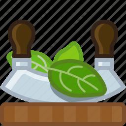 basil, chopping board, cooking, cutting, herbs, knife, yumminky icon