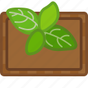 basil, chopping board, cooking, cutting, herbs, kitchen, yumminky icon