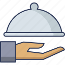 dish, serving, hand