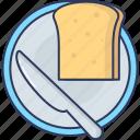 bread, knife, breakfast, food, eat