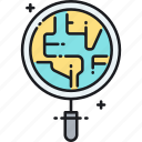 discover, discovery, magnifier, magnifying glass, map