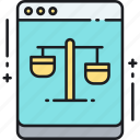 balance, court, justice, law, legal, online, online courtroom icon