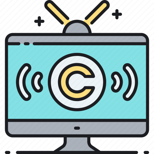broadcast, copyright, television, tv, tv broadcast copyright icon