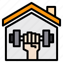 coronavirus, covid, covid19, dumbbell, home, house, stay icon