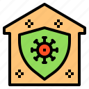 coronavirus, covid, covid19, house, protect, shield, virus icon