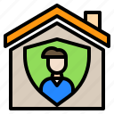 coronavirus, covid, covid19, home, house, man, shield icon