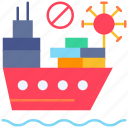 banned, cruise, ship, shipping, virus icon