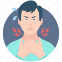 avatar, corona virus, coronavirus, man, sick, sore, throat icon