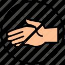 hand, shake, stop, touching icon