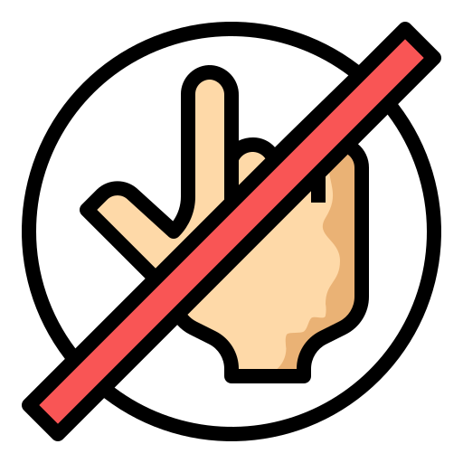 dont, gesture, hand, no, touch icon