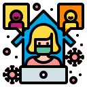 communication, freelancer, from, home, online, work, workplace icon