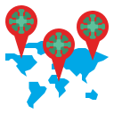 coronavirus, covid, global, map, point, spread, world icon