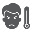 coronavirus, covid-19, flu, man, sick, temperature, thermometer icon