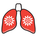 bacteria, coronavirus, coronovirus, covid-19, lung, pneumonia, symptoms icon