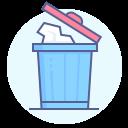 bin, coronavirus, preventive measure, throw used tissue icon
