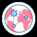 coronavirus, globe, spreading, world data icon