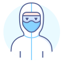 doctor, protective, suit, wear icon