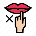 covid, lips, notallowed, restricted, touching icon