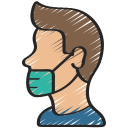 avatar, coronavirus, face, mask, person, side, wearing icon