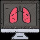 computer, coronavirus, lungs, respiritory, screen, study icon