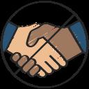 coronavirus, hands, no, prohibited, shaking, sign icon