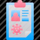 clipboard, coronavirus, data, patient, report icon