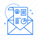 envelope, graph, message, sms