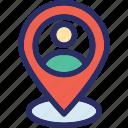 location, man, map, navigation, user location icon
