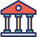 courthouse, bank, building, school building, institute icon