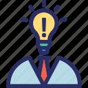 idea, idea get, analytic, human head, idea provider icon
