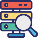 magnifying, network server, search database, server search, server storage icon