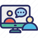 communication, live call, monitor, technology, video call icon