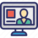 chatting, monitor, video call, video chat, video conference icon