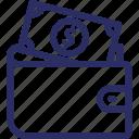 billfold wallet, cardholder, currency wallet, purse, wallet icon