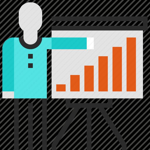 chart, man, presentation, statistics icon