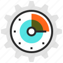 clock, cogwheel, efficiency, gear, management, optimization, time icon