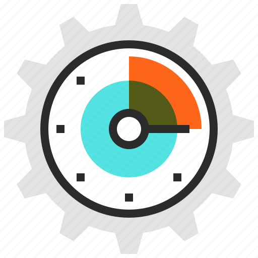 clock, gear, management, time icon