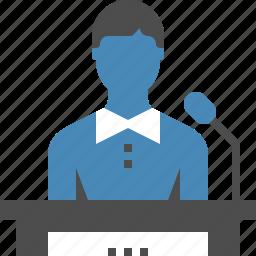 communication, conference, lecture, podium, presentation, speaker, speech icon
